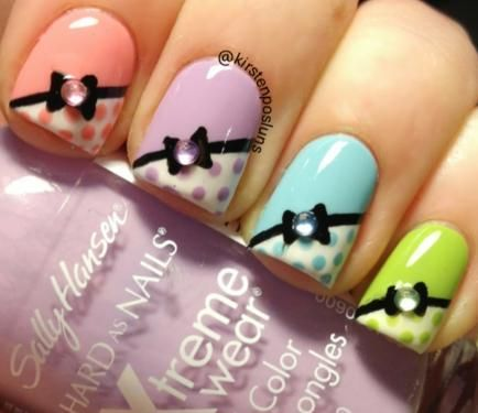 Nail Art How To: Adorable Pastel Bow French Nails by Kirsten Posluns! Nail Designs, Step-by-Step, Sally Hansen | Nail It! Magazine