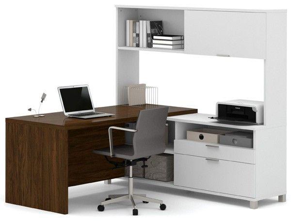 Bestar - Pro-Linea White & Oak Barrel Drawer L-Desk With Hutch - 120882-30