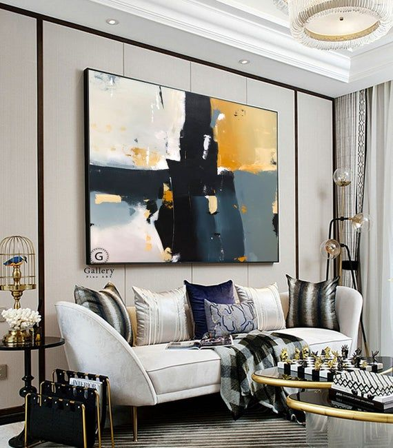 Geometric Large Canvas Art Abstract Painting Large Wall Art Etsy In 2020 Apartment Living Room Design Living Room Designs Living Room Modern
