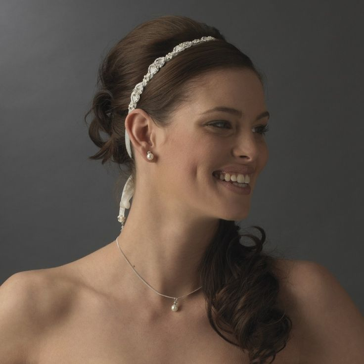 Elegant Pearl Bridal Ribbon Headband for $47.75 only! #wedding #weddingplanning #bridal #hairaccessories