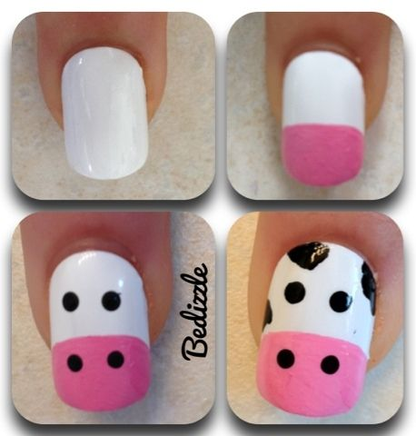 Cute and easy cow nails Amy this is for you