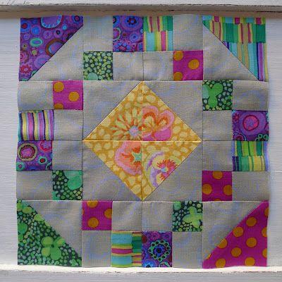 Jewel Box block with Kaffe Fasset Fabrics. Tutorial on blog post. source: Cabbage Quilts