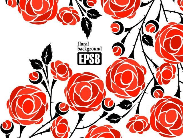 Free Vectors: Simplistic Flower Background with Red Roses | Art | Vector Bg