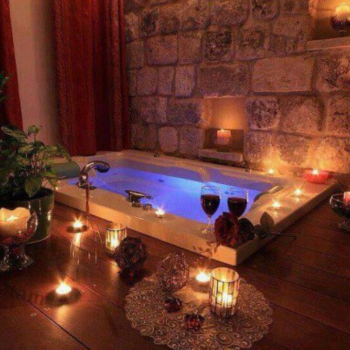 Romantic bathtub with candles