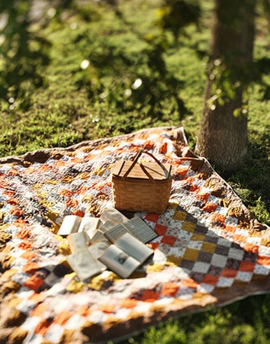 If I had a quilt that lovely, it probably wouldn't end up on the ground.  But what a dreamy photo...