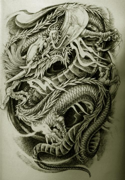 Solid asian style dragon tattoo — img 6
