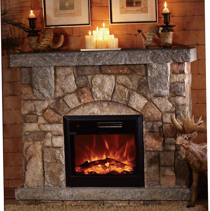 Depiction Of Stone Electric Fireplace For Modern Rustic