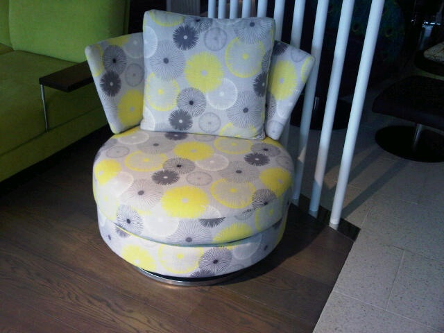 King Furniture Delta Chair upholstered in yellow and grey fabric - photo from King Furniture shop in Melbourne