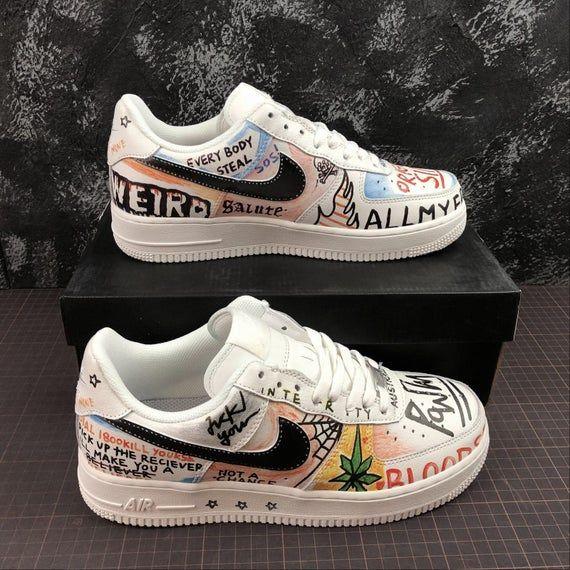 Custom Air Force 1 White Text   Custom Sneakers, Custom ...