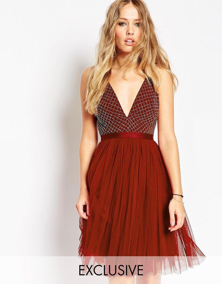 Needle+&+Thread+Embellished+Plunge+V+Neck+Tulle+Skirt+Dress