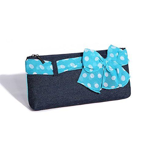 New Trending Make Up Bags: Flowertree Womens Blue Denim Polka Dot Silk Ribbon Mini Purse Pouch Handbag. Flowertree Women's Blue Denim Polka Dot Silk Ribbon Mini Purse Pouch Handbag  Special Offer: $8.99  455 Reviews Tired of losing your keys, cards, and other small items in your sea of a tote bag? Keep your everyday essentials in the small pouch for easy access to smaller...