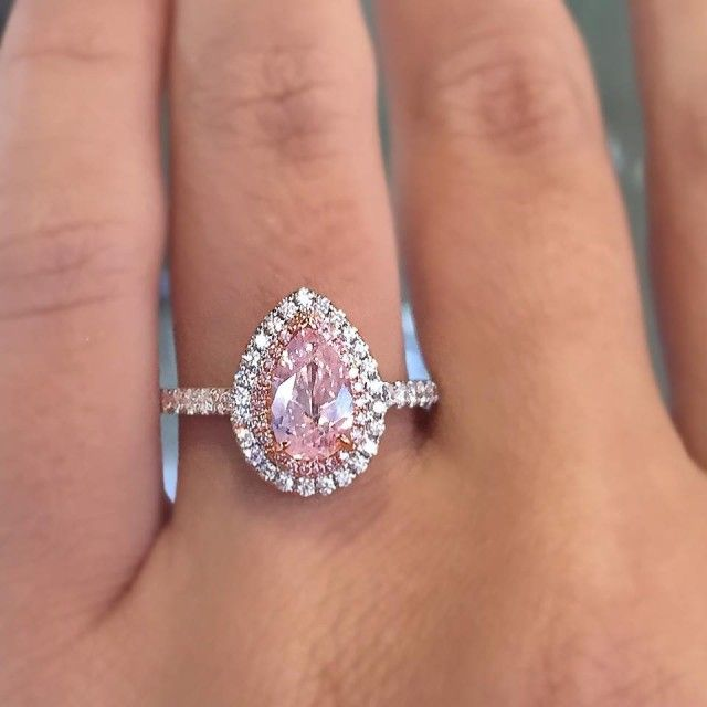 Pink Pear Shaped Diamond Engagement Ring