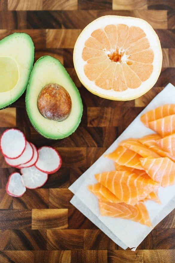 Grapefruit, Avocado, Radish, and Salmon Crudo