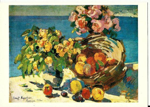 Postcard  Vintage Russian  still life art work K. by LucyMarket, $1.99