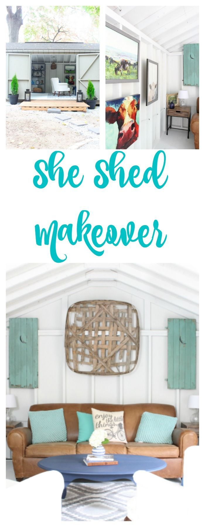 She Shed Makeover. She Shed transformation. She Shed before and after. Farmhouse She Shed. One Room Challenge She Shed Reveal