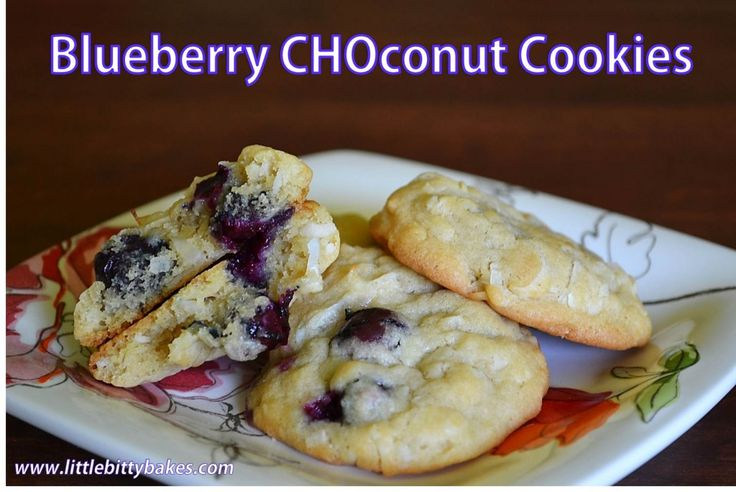 Blueberry Coconut Cookies, made with non-fat Plain or Lemon Chobani ...