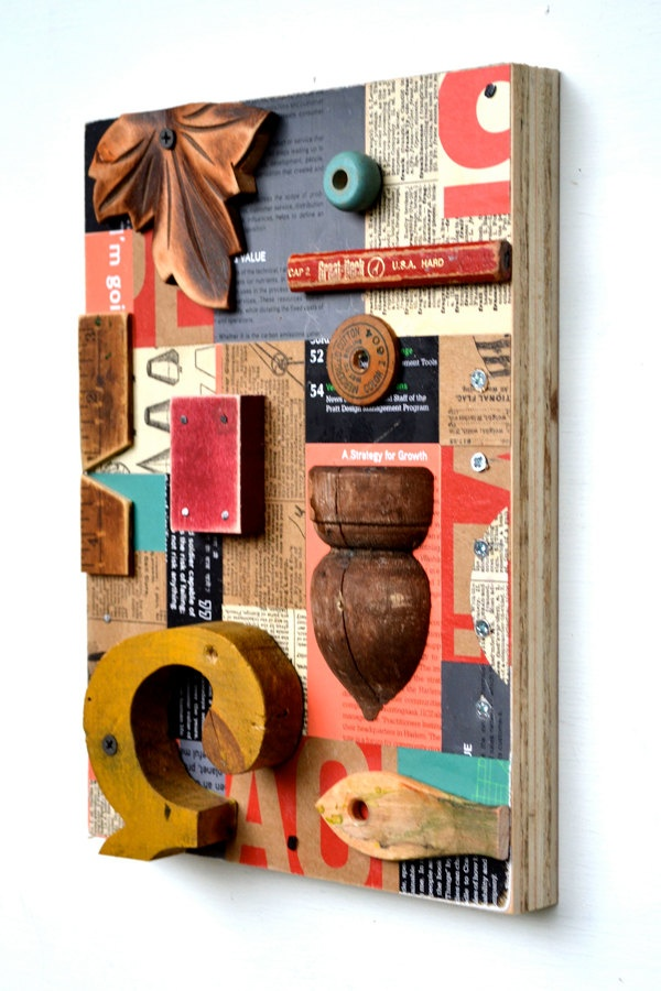 vintage sign letters typography found object art wood collage  Elizabeth Rosen. $155.00, via Etsy.