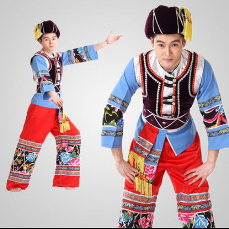 New Ancient Chinese Costume Hmong Clothes Chinese Miao Dance Costume For Men's Performance Clothing For 120cm-190cm Height