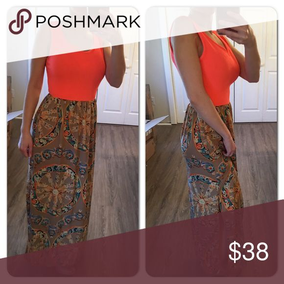 Bright coral/beige printed maxi dress Beautiful maxi dress perfect for any spring or summer day!! Has a small split side. Great colors and prints! Dresses Maxi