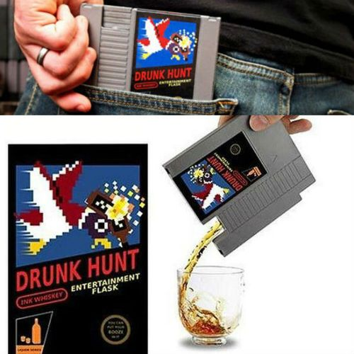 Duck Hunt Cartridge FlaskThe Duck Hunt video game has finally made a comeback in the form off a back pocket flask. Instead of shooting ducks now you can shoot tequila shots right down the throat hole straight from the cartridge, which has now been titled Drunk Hunt.(BUY IT HERE)