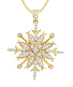 9KT Yellow Gold 1/2ct tw Round Cut Diamond Snowflake Pendant For Women's Gift #YellowGold #pendant #Diamonds #Sale #Jewelery #Necklace