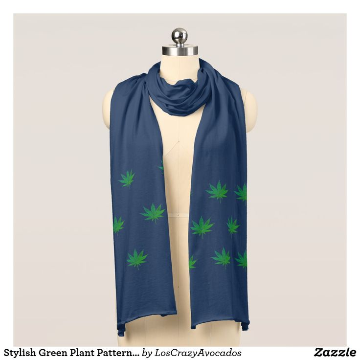 Stylish Green Plant Pattern Jersey Scarf