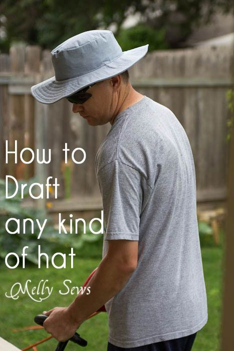 How to sew a hat - detailed tutorial and free template for all head sizes - shows you how to draft/sew any kind of hat. http://mellysews.com