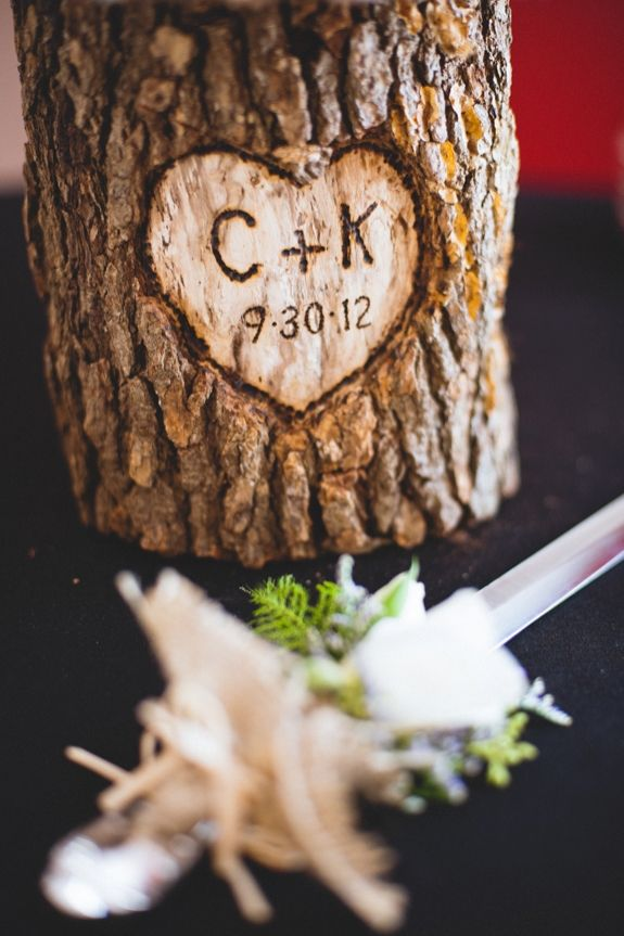 Creative wood wedding details ~ Kirsten & Christian's rustic, DIY small budget Virginia wedding. Images by Porter Watkins Photography.