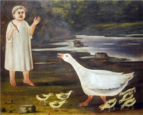 'The girl and the goose with goslings' by Niko Pirosmani