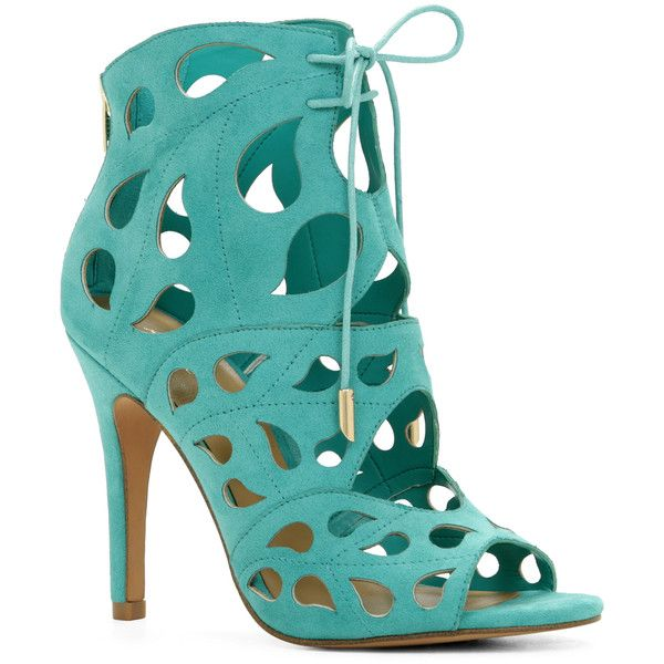 ALDO Dellarocca ($34) ❤ liked on Polyvore featuring shoes, teal, cutout sandals, teal high heel shoes, cut out sandals, aldo shoes and teal shoes