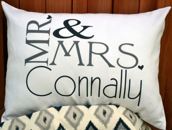 Personalized Pillow, Mr. & Mrs., Silver anniversary, 2nd anniversary, Cotton anniversary, heart, wedding gift, anniversary gift Personalized wedding