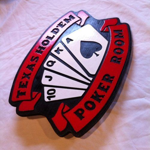 US $49.95 Custom Sign Texas Holdem Poker Room 3D routed carved wood bar pub man cave