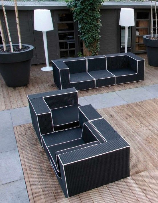 Black And White Outdoor Wicker Furniture   Haute Terasse By Borek
