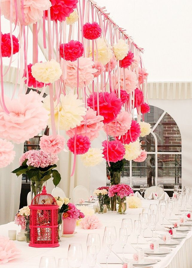 pink party: magenta, peach, cream flowers with ribbons and birdcage.