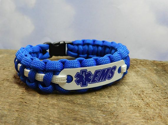 EMS Paracord Bracelet  Royal blue & white  Paramedic Gift