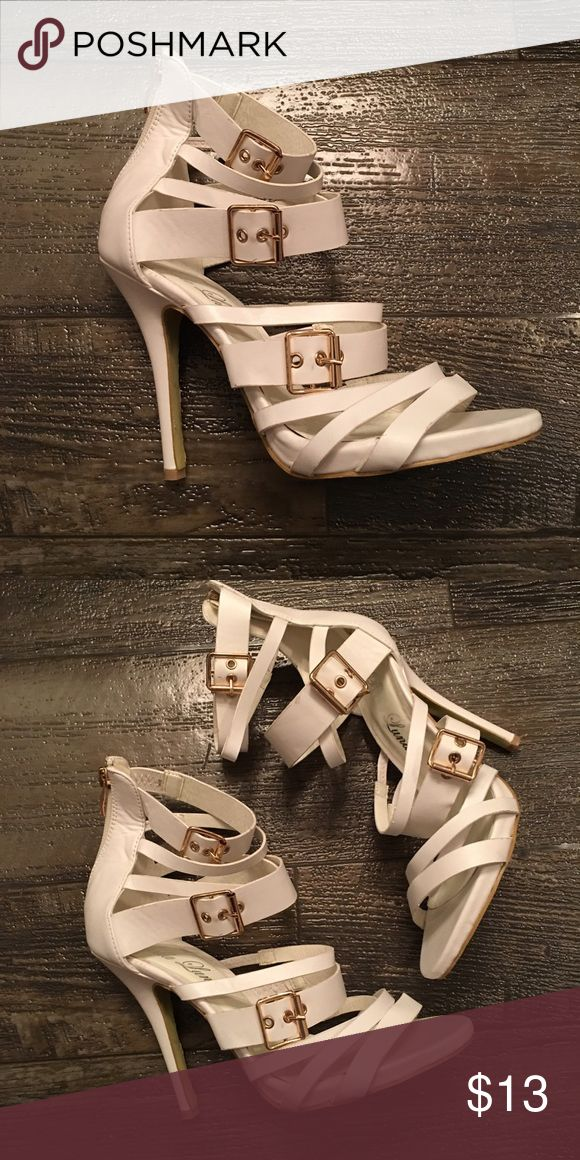 Gladiator Heels by Bella Luna Great with jeans or a dress. Zipper back so you do not have to buckle them. Adjustable for skinny feet. ONLY WORE ONCE. Great condition. Bella Luna Shoes Heels