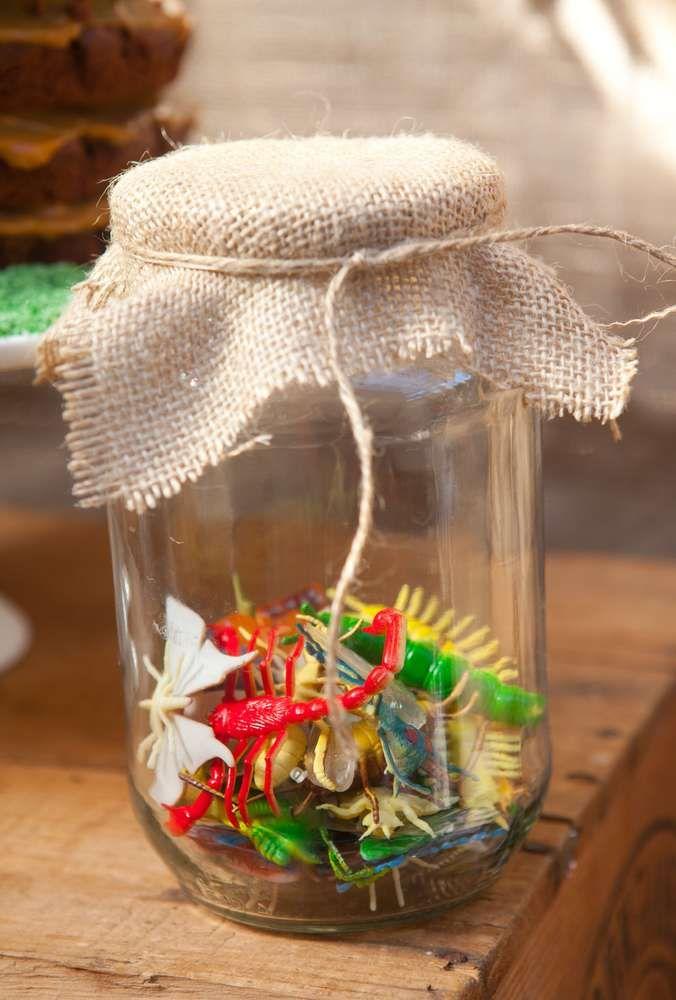 Mason jar favors at a Camping Summer