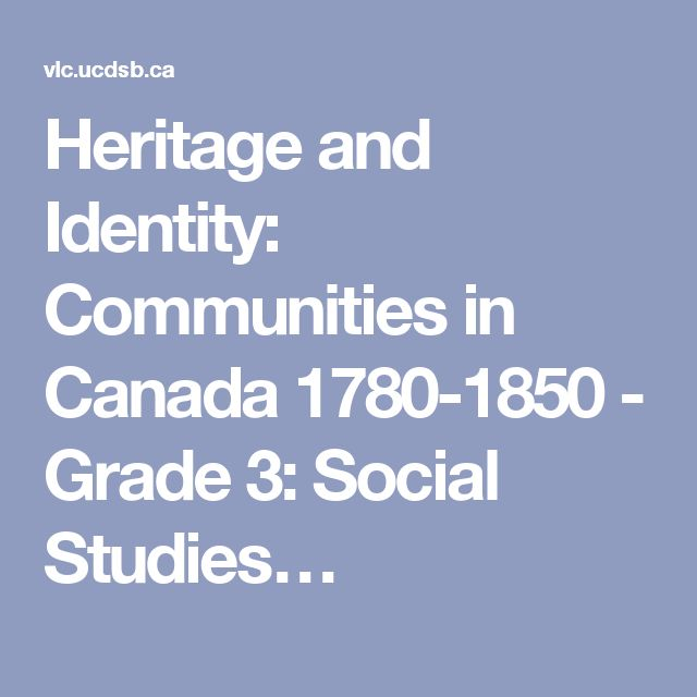 Heritage and Identity: Communities in Canada 1780-1850 - Grade 3: Social…