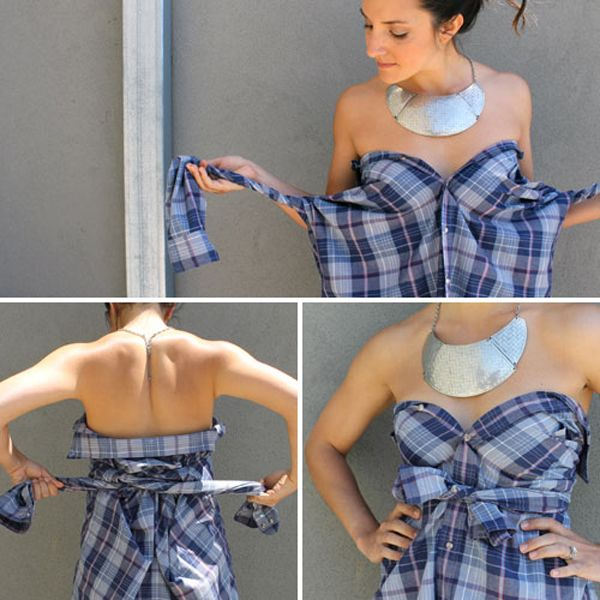 To a man a shirt is just a shirt, while to a woman it is ten different items of clothing. How to use your imagination and turn a man's shirt into a dress, and more.