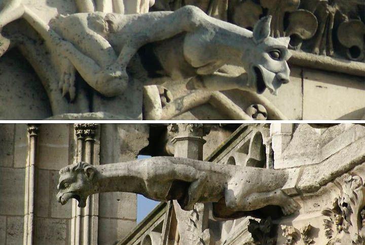 Gargoyles decorating the Basilica St Denis.