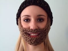 Crochet Beard Hat: Free Pattern... too funny! I saw a dad and little boy with these dressed as lumberjacks for halloween is was adorable!