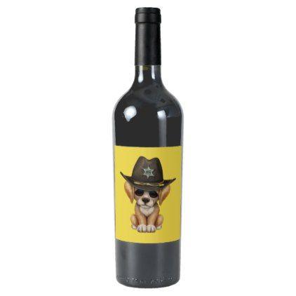 #Cute Golden Retriever Puppy Dog Sheriff Wine Label - #golden #retriever #puppy #retrievers #dog #dogs #pet #pets #goldenretriever