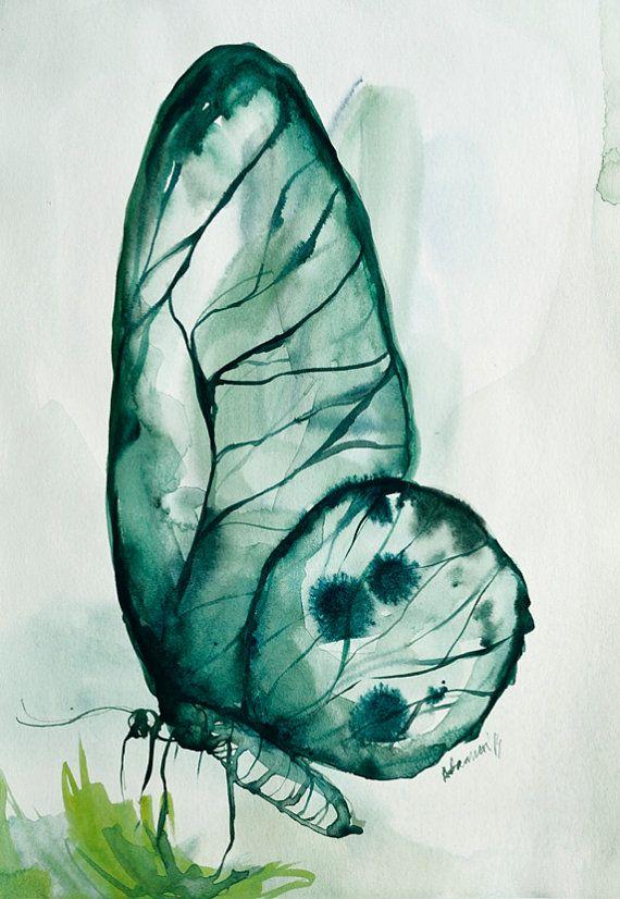 Emerald Original Watercolor Painting Wall от AlisaAdamsoneArt