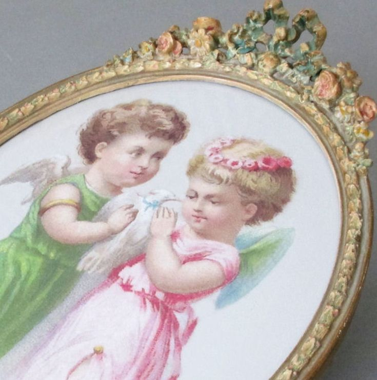 "Antique 12"" BARBOLA Oval Frame BOW + Flower ROSE Swags * Sweet CHERUBS + Dove"