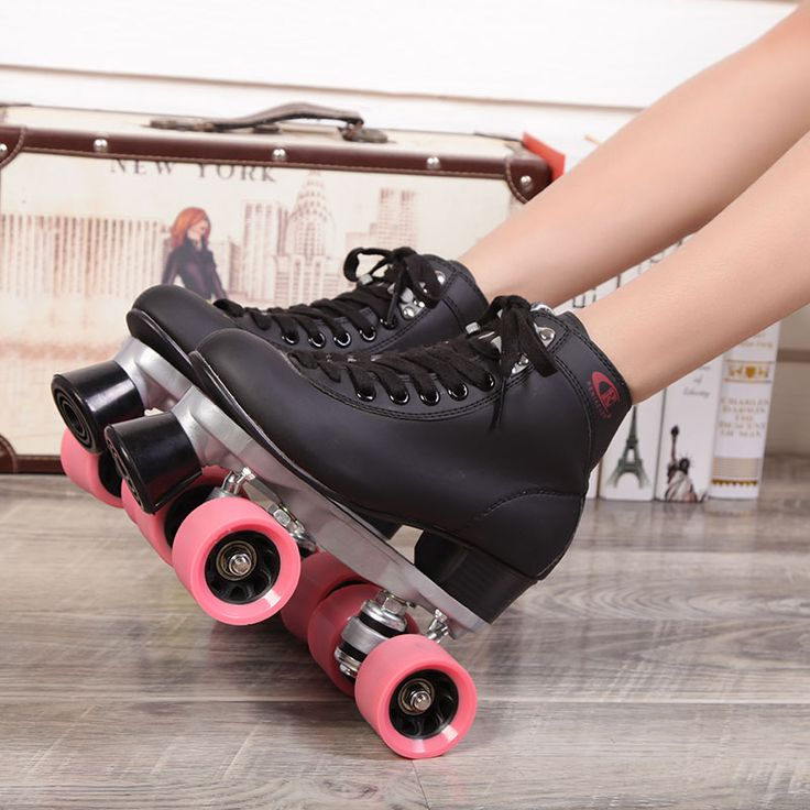 Roller Skates Double Line Skates Black Men Male Models Adult Pink F1 Racing 4 Wheels Two line Roller Skating Shoes