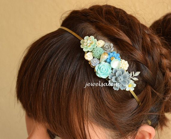 Blue Wedding Headband Turquoise Tiara Floral Head Piece Customized Flower Hairband Woodland Rustic Romantic Bohemian Fascinator H1 WR