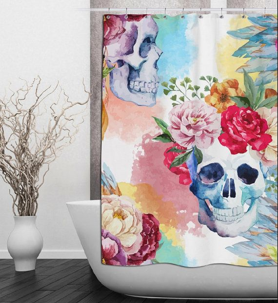 Watercolor Floral Skull Shower Curtain  Watercolor by InkandRags