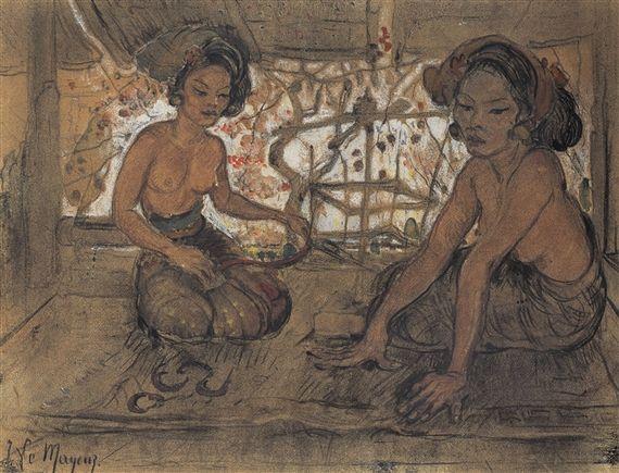 Adrien Jean Le Mayeur de Merprès - Gadis-gadis Bali (Balinese meisjes).
