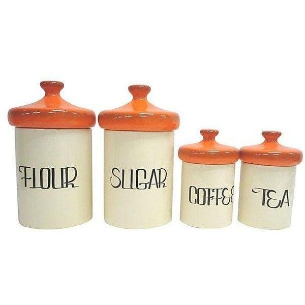 Mid-Century Orange Ceramic Canisters - Set of 4 ($599) ❤ liked on Polyvore featuring home, kitchen & dining, food storage containers, tabletop, ceramic flour canister, sugar canister set, ceramic canister set, sugar canister and ceramic food storage containers