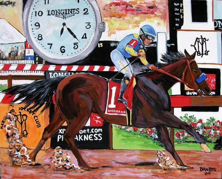 American Pharoah Horse Racing Derby Preakness Belmont DAN BYL Triple Crown 4x5' #Impressionism